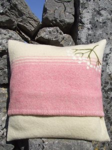 Resized Upcycled Wool Blanket Cushion