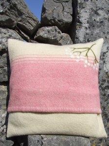 Resized Upcycled Wool Blanket Cushion